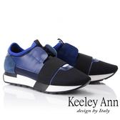 2018秋冬_Keeley Ann個性玩酷~科技感繃帶懶人運動休閒鞋(藍色) -Ann系列