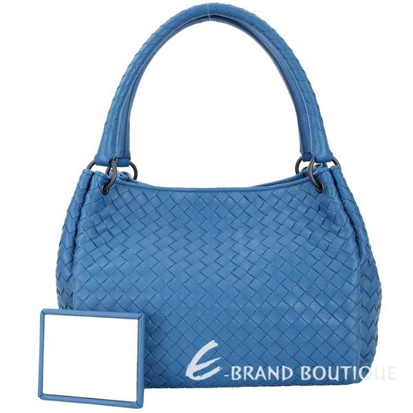 BOTTEGA VENETA Parachute 小羊皮編織手提包(藍色) 1830540-23
