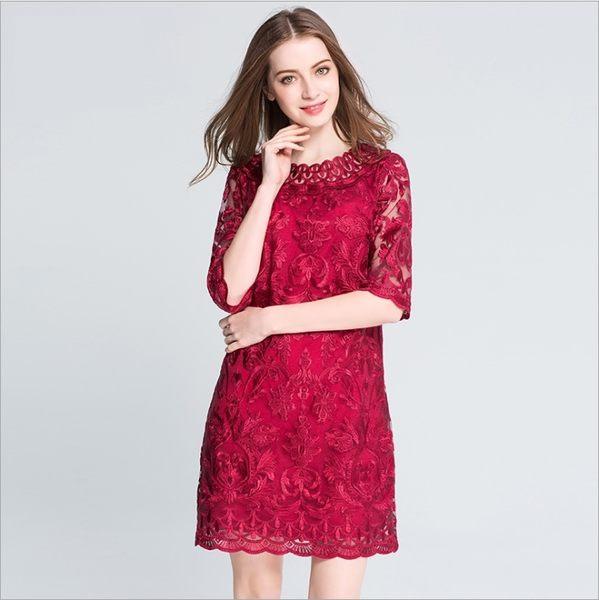 中大尺碼洋裝 蕾絲刺繡酒紅色五分袖A字連身裙 L-5XL #yz16046 ❤卡樂store❤