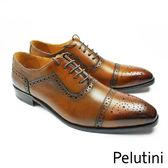 【Pelutini】橫飾U型鞋翼牛津鞋 經典黑(9126-BR)