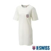 K-SWISS Crew Neck Dress 印花短袖T恤-女-象牙白