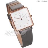 ROSEFIELD 歐風美學 時尚簡約 方形 真皮錶帶 女錶 防水手錶 灰色 QWGR-Q12