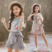 *╮小衣衫S13╭*中大童花兒短袖T旭斜花邊條紋短裙套裝1080416