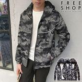 [現貨] 潮流街頭反光條設計網狀洞洞閃電迷彩外套連帽抽繩騎士外套防風外套風衣外套【QZZZ805】