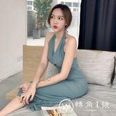 港味新款韓版藍灰色掛脖高腰綁帶復古簡約晚禮服修身顯瘦連衣裙女