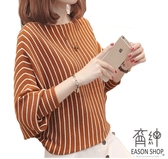 EASON SHOP(GU8991)韓版撞色直條紋袖口縮口短版圓領泡泡袖長袖毛衣針織衫女上衣服顯瘦內搭衫紅色