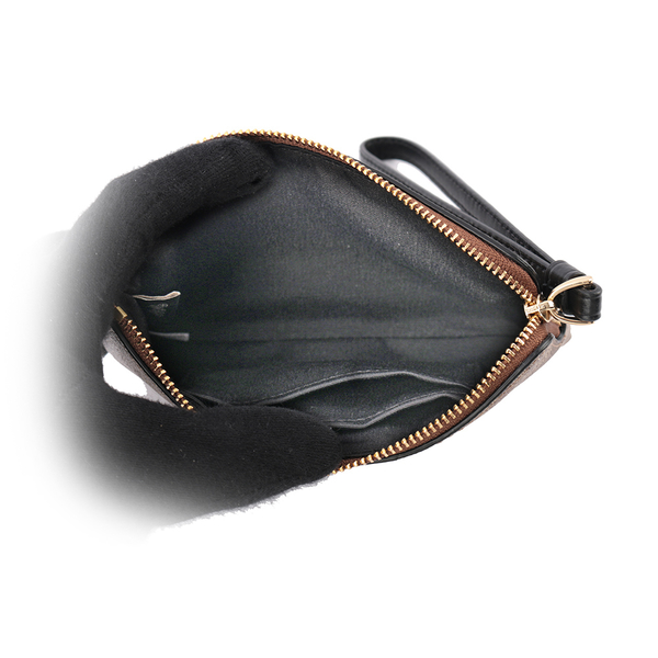 【COACH】皮革+PVC LOGO L型拉鍊手拿包(卡其/黑色) F58035 IMCBI