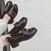 英倫風chic鞋子復古小皮鞋女原宿正韓百搭單鞋女  米菲良品