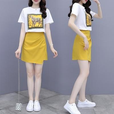 套裝~網紅炸街印花棉質短袖白色T恤女小個子A字半身裙兩件套N2F-C11-E胖妞衣櫥