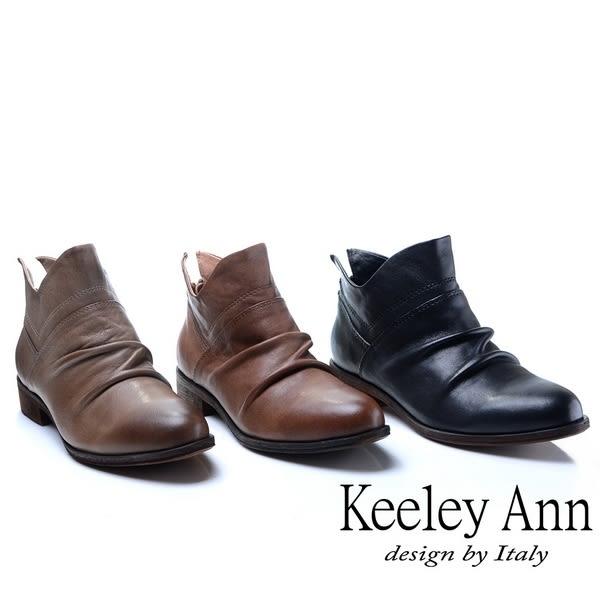 ★2018秋冬★Keeley Ann俏皮性格~小精靈質感抓皺全真皮短靴(駱駝色)