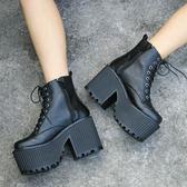 短靴   歐美暗黑系軟妹搖滾朋克黑色復古原宿厚底機車靴女鞋