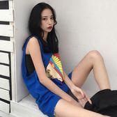 韓版新款夏季寬鬆顯瘦卡通印花中長款無袖背心T恤女休閒上衣  蒂小屋服飾