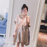 漂亮小媽咪 獨家訂製款 娃娃裙 【D8211】 V領 高腰 綁帶 寬袖 洋裝 短袖洋裝 孕婦裝 卡其款