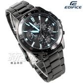 EDIFICE EFV-570DC-1A 公司貨 三眼計時碼錶設計 賽車錶 男錶 IP黑x藍 EFV-570DC-1AVUDF CASIO卡西歐