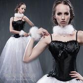 馬甲 黑施華洛淑女外穿束腹型塑身馬甲-束身、表演服_蜜桃洋房