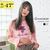 棉T--青春甜美可愛娃娃愛心氣球印花鬆修身百搭圓領長袖T恤(黑.粉L-3L)-F128眼圈熊中大尺碼
