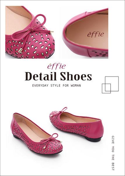 effie 都會舒適 全真皮鏤空金箔蝴蝶結飾平底鞋  桃粉紅