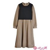 高領洋裝 2021早春胖mm高端連身裙子洋氣2021年新款秋冬季大碼女裝兩件套裝 小天使