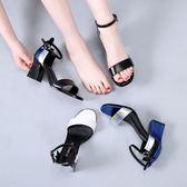 小清新白色涼鞋粗跟森女系一字扣帶涼鞋潮女夏露趾中高跟鞋18新款 熊貓本