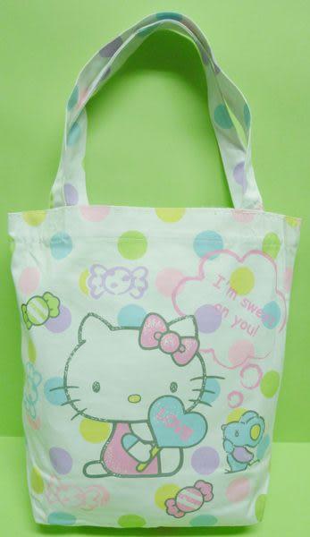 【震撼精品百貨】Hello Kitty 凱蒂貓~手提袋『白底彩色點點糖果』