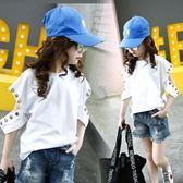 女童短袖T恤2018童裝春夏新款韓版中大童漏肩上衣LJ4519『黑色妹妹』