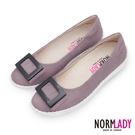 女鞋 休閒鞋 懶人鞋 台灣製 真皮鞋 反絨羊皮方釦磁力厚底氣墊球囊娃娃鞋(微醺粉) Normlady 諾蕾蒂