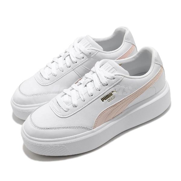 Puma 休閒鞋 Oslo Maja Wns 厚底 微增高 白 粉紅 女鞋 皮革 小白鞋 【ACS】 37486404