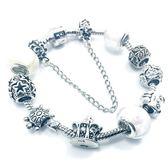 串珠手鍊潘朵拉元素925純銀-琉璃飾品素雅白色生日情人節禮物女配件73bo39[時尚巴黎]