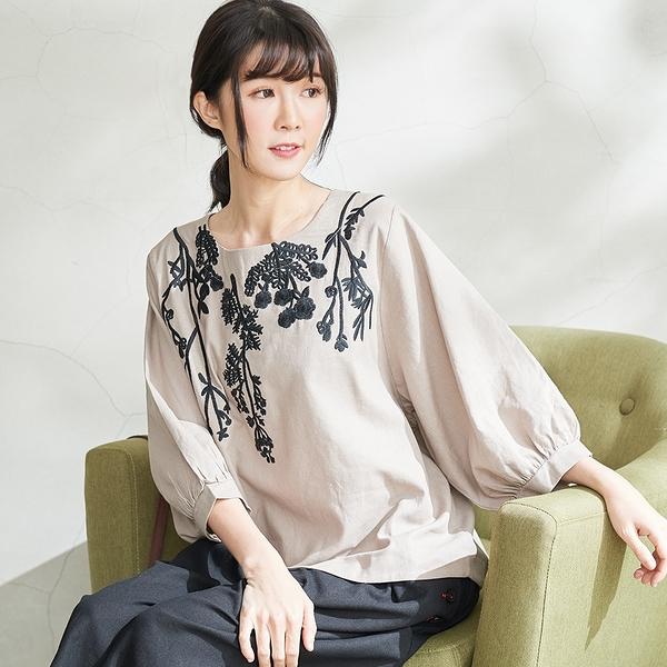 【慢。生活】文藝花草刺繡上衣 20310-9 FREE卡其