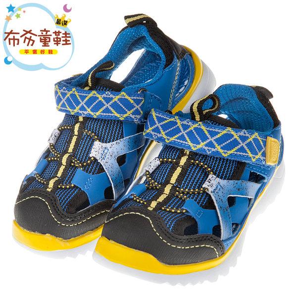 《布布童鞋》高透氣性寶藍色網布黃邊兒童運動鞋(18~22公分) [ O7V425B ]