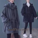 依Baby 外套 秋冬新款大碼女裝韓版寬鬆系帶中長款外套
