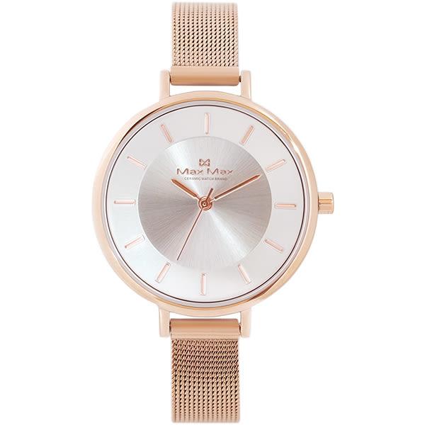 Max Max 簡約時尚金屬感腕錶-黑-白x玫瑰金