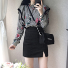 高腰開叉a字半身裙春夏季女新款韓版百搭顯瘦黑色包臀一步裙短裙 伊衫風尚