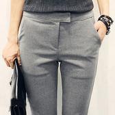 韓版修身OL通勤職業女褲九分褲灰色西褲女休閒褲西裝褲小腳直筒褲『艾麗花園』
