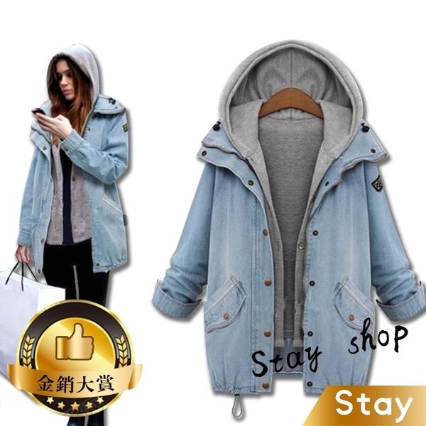 【Stay】大碼女裝歐美春裝新款連帽牛仔外套 顯瘦 兩件式 外套 保暖外套【J25】