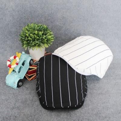 夏天韓版棉麻休閒男帽 貝雷帽青年條紋鴨舌帽潮前進帽子出游逛街