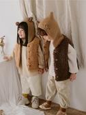 兒童馬甲 兒童馬甲外穿秋冬加絨洋氣女羊羔毛馬夾加厚連帽男童背心夾棉