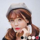 Qmigirl 韓國英倫時尚麂皮絨八角貝雷帽 報童帽 畫家帽 帽子【QG2482】