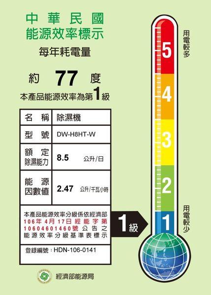 1000元補助 限量【SHARP夏普】8.5公升/1日 搭載溫濕度感應器自動偵測除濕 除濕機 DW-H8HT 免運費