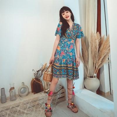 度假洋裝 民族風連身裙復古人棉印花收腰系帶連身裙四色五碼NE603紅粉佳人