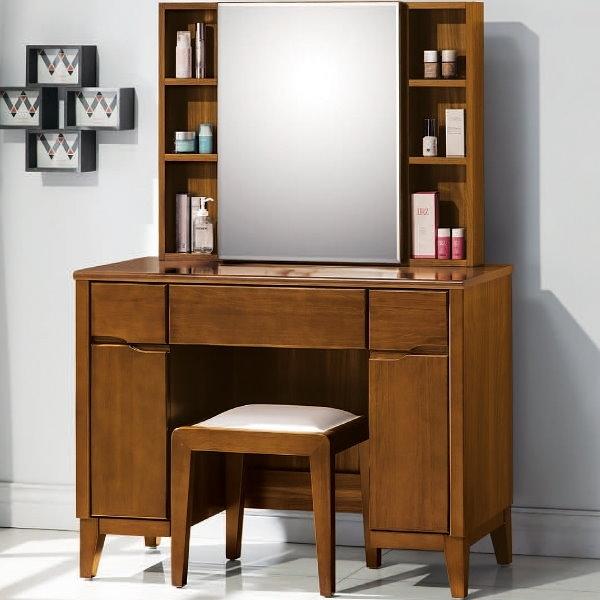化妝台 鏡台 AT-501-5 米亞淺胡桃3.3尺床鏡台 (含椅)【大眾家居舘】