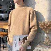 半高領毛衣男新款秋冬季韓版潮針織衫簡約純色套頭外套打底衫 焦糖布丁
