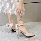 高跟鞋 蝴蝶結高跟鞋2021年春新款法式少女百搭黑色網紅尖頭細跟單鞋仙女 愛丫 免運