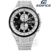 EDIFICE CASIO / EFR-549D-1B / 卡西歐完美獨創進化三環日期不鏽鋼手錶 銀黑色 47mm