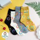 【正韓直送】韓國襪子 繽紛塗鴉感表情中筒襪 笑臉長襪 韓襪 長襪 哈囉喬伊 A309