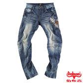 【BOBSON】男款翻轉系列立體摺痕牛仔褲(藍58)
