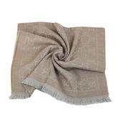 GUCCI LOGO純羊毛寬版圍巾披巾(淺褐色)