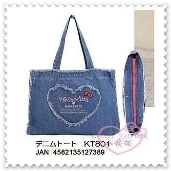 ♥小花花日本精品♥ Hello Kitty 牛仔布 側背袋 手提袋 手提包 大臉 愛心 蝴蝶結 藍色 (預購)