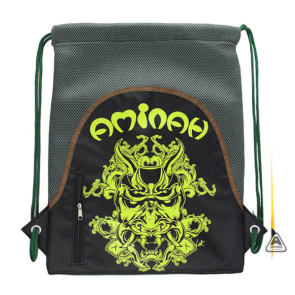 綠鬼頭束口袋 輕便後背包 彩色塗鴉 AMINAH~【am-0245】