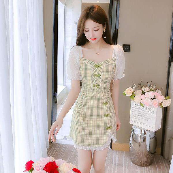 超殺29折 韓國風復古格紋網紗拼接雪紡短袖洋裝
